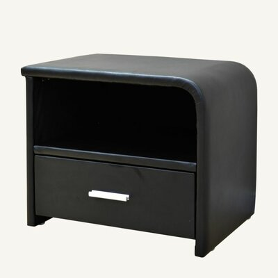 1 Drawer Nightstand Color: Black