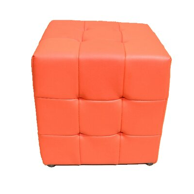 Tufted Cube Ottoman Upholstery Color: Red