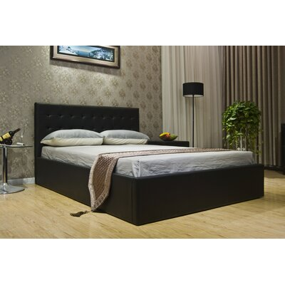 Upholstered Storage Platform Bed Size: Full, Color: Black