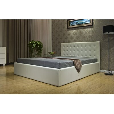 Upholstered Storage Platform Bed Size: Full, Color: White