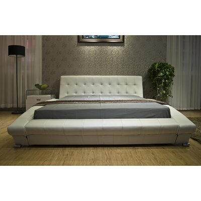 Upholstered Platform Bed Size: Queen, Color: White