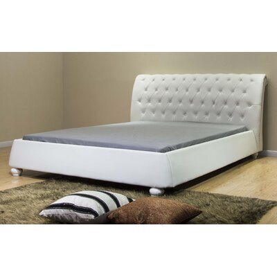 Upholstered Platform Bed Size: California King, Color: White