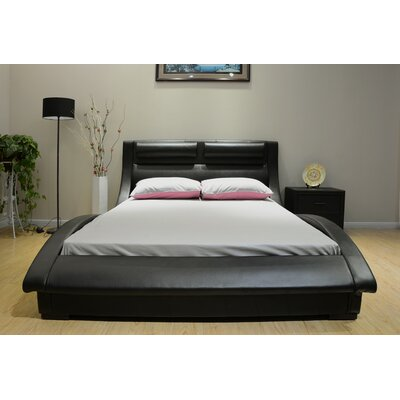 Upholstered Platform Bed Size: King, Upholstery: Black