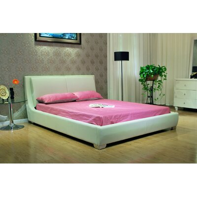 Upholstered Platform Bed Upholstery: White, Size: King