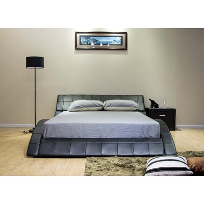 Upholstered Platform Bed Size: Queen, Upholstery: Black