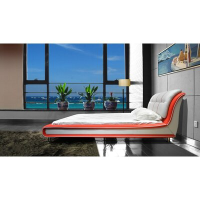 Bovina Upholstered Platform Bed Size: King, Color: Red / White
