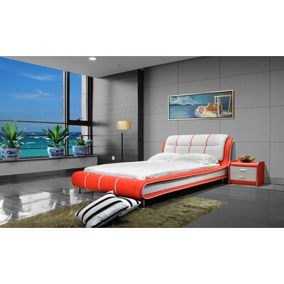Upholstered Platform Bed Size: Queen, Color: Red / White