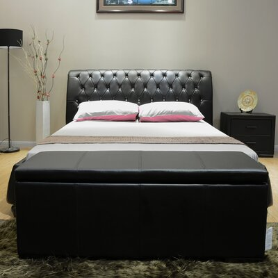 Upholstered Platform Bed Upholstery: Black, Size: King