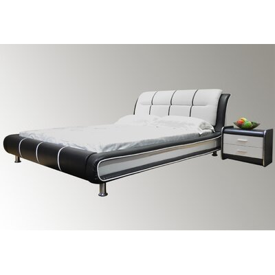 Bovina Upholstered Platform Bed Size: King, Color: Black / White