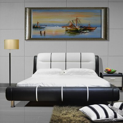 Upholstered Platform Bed Size: California King, Color: Black / White