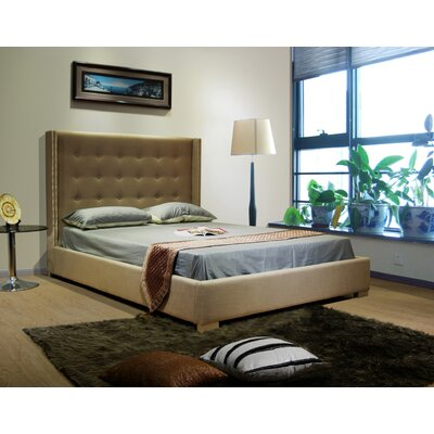 Upholstered Platform Bed Size: Queen, Color: Tan