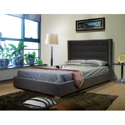Upholstered Platform Bed Size: Queen, Color: Gray