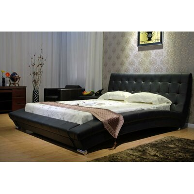 Upholstered Platform Bed Size: California King, Color: Black