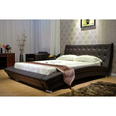 Upholstered Platform Bed Size: King, Color: Chocolate