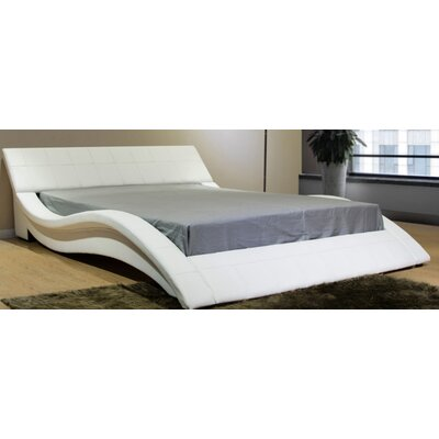 California King Upholstered Platform Bed Color: White