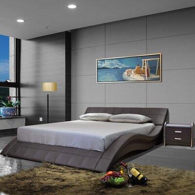 California King Upholstered Platform Bed Color: Dark Brown
