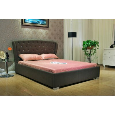 Upholstered Panel Bed Upholstery: Chocolate