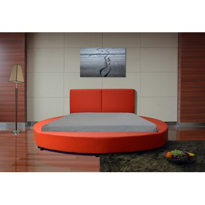 Lura Queen Upholstered Platform Bed Color: Red