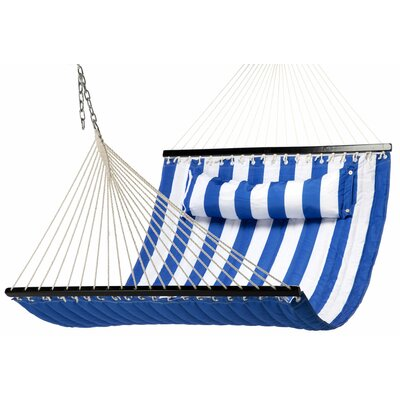 Quilted Polyester Tree Hammock Color: Navy/White