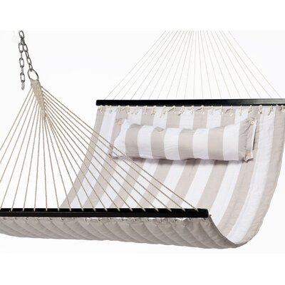 Quilted Polyester Tree Hammock Color: Tan/White