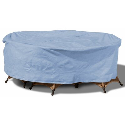 All-Seasons Round Patio Table and Chairs Combo Cover Color: Blue, Size: 112 W x 112 D