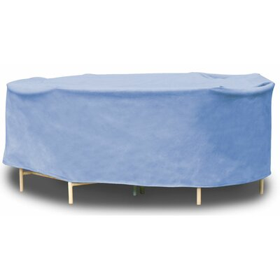 All-Seasons Oval Patio Table and Chairs Combo Cover Color: Blue, Size: 90 W x 136 D