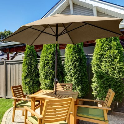 SunBlok Patio Market Umbrella with Tilt Aluminum Pole Fabric: Tan