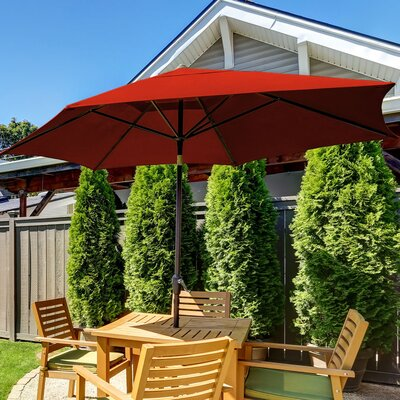 SunBlok Patio Market Umbrella with Tilt Aluminum Pole Fabric: Red