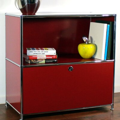 Credenza and Filing Cube with Soft-Close Drawer Color: Wine Red