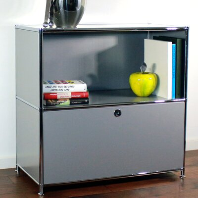 Credenza and Filing Cube with Soft-Close Drawer Color: Silver
