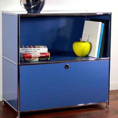 Credenza and Filing Cube with Soft-Close Drawer Color: Brilliant Blue