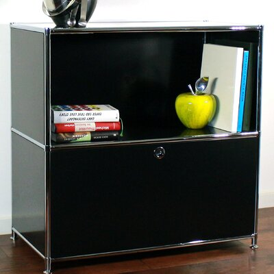Credenza and Filing Cube with Soft-Close Drawer Color: Black