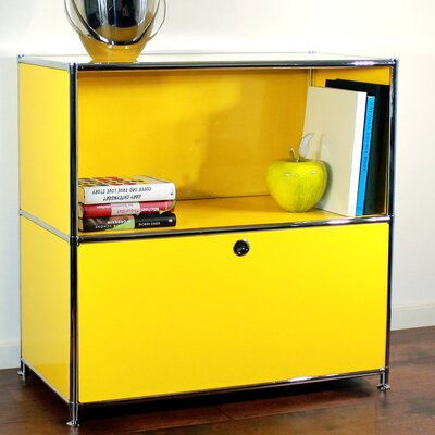 Credenza and Filing Cube with Soft-Close Drawer Color: Traffic Yellow