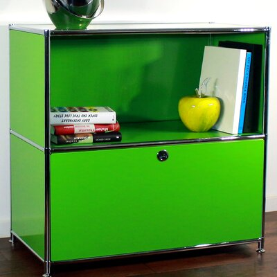 Credenza and Filing Cube with Soft-Close Drawer Color: Yellow Green