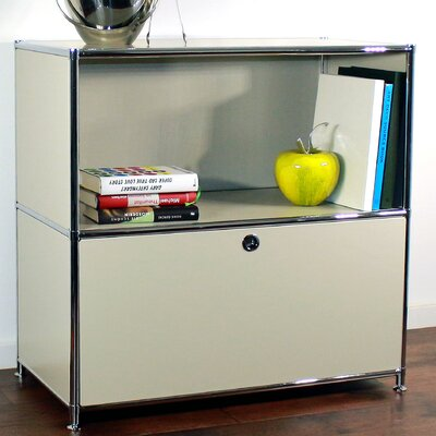 Credenza and Filing Cube with Soft-Close Drawer Color: Silk Gray