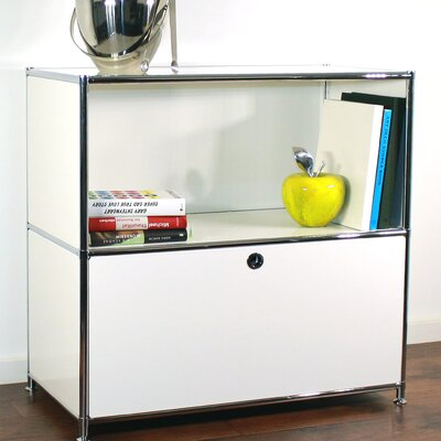 Credenza and Filing Cube with Soft-Close Drawer Color: White