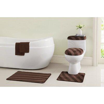Addie 12 Piece Bath Rug Set Color: Chocolate