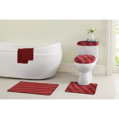 Addie 12 Piece Bath Rug Set Color: Red