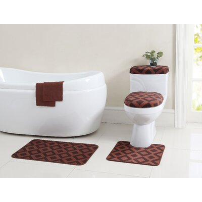 Vivienne 12 Piece Bath Rug Set Color: Brown