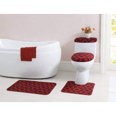 Vivienne 12 Piece Bath Rug Set Color: Burgundy