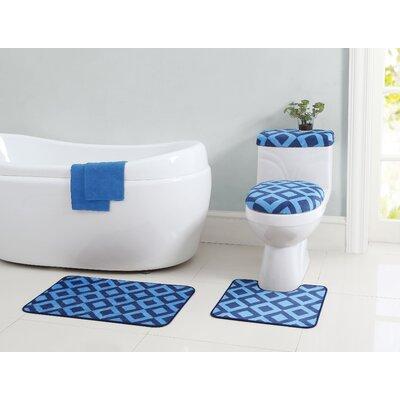 Vivienne 12 Piece Bath Rug Set Color: Blue