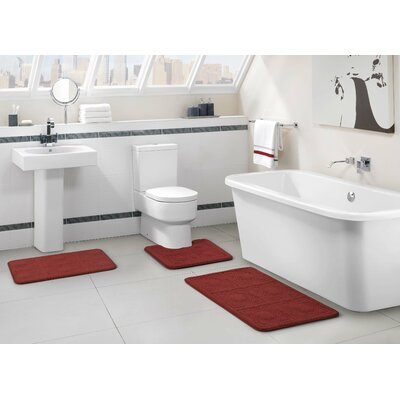 Byzantine 3 Piece Memory Foam Embossed Black Bath Rug Set Color: Burgundy