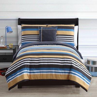 Finn Comforter Set Size: Full, Color: Black / Blue