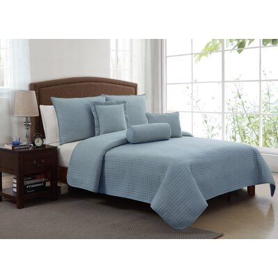 Columbus Queen 6 Piece Quilt Set Color: Blue
