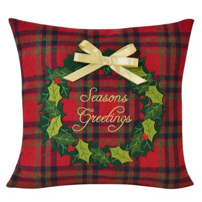 Season'S Greetings Decorative 100% Cotton Throw Pillow