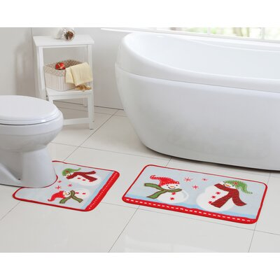 Snowman Sledding Red Bath Rug Set