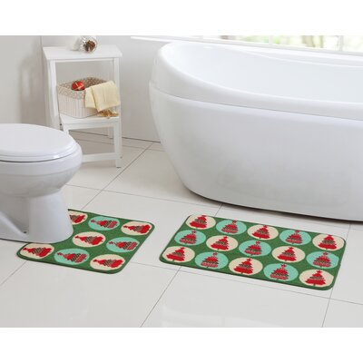 2 Piece Poinsettia Christmas Tree Green Bath Rug Set
