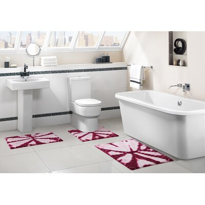 Bali 3 Piece Bath Rug Set Color: Fuchsia
