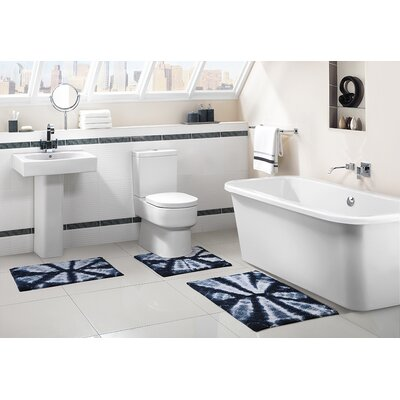 Bali 3 Piece Bath Rug Set Color: Navy