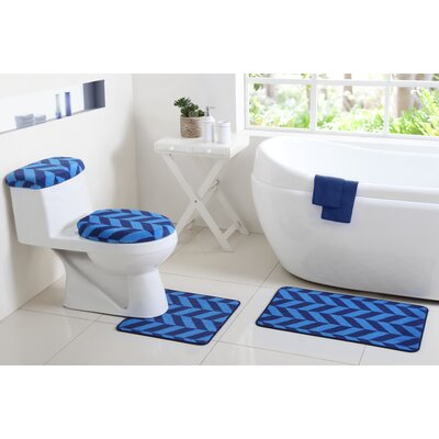 Josette 6 Piece Bath Rug Set Color: Navy